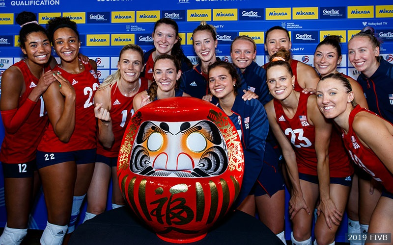 The U.S. Women presented with a Japanese Daruma following their qualification to the 2020 Olympic Games